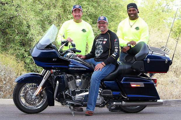 Kyle Petty will be joined by former NASCAR racer Harry Gant, left. and former NFL great and Heisman Trophy winner Herschel Walker on this year's Ride Across America.