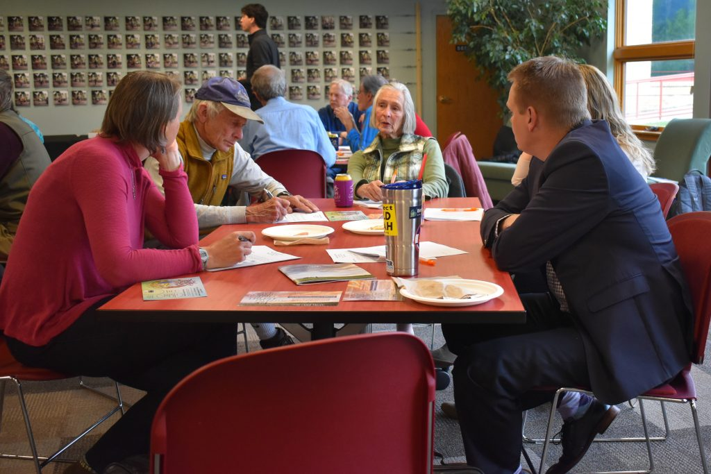 A group of people discuss ideas for the future of the Aspen Valley Land Trust at a public meeting in Carbondale Thursday.
