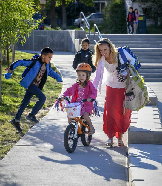Children of all ages and even adults took part in Garfield County Schools Bike to School Day Tuesday in Glenwood. Schools from Glenwood, Carbondale, New Castle, Rifle, Silt and Parachute took paet in the event organized by Garfield Clean Energy, Garfield County Putdoors and the schools.