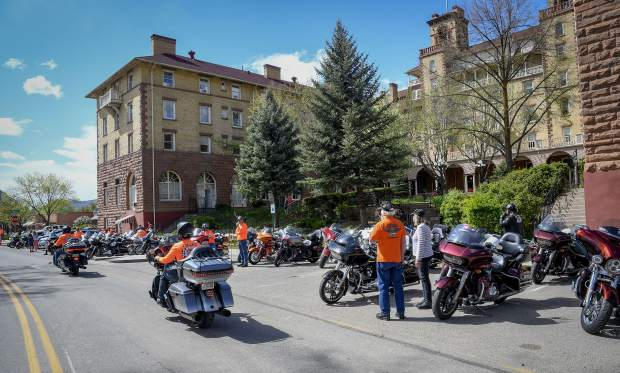 Riders with the Kyle Petty Charity Ride pull in front of the Hotel Colorado Sunday afternoon in Glenwood Springs. 150 motorcycles are making the 3,700 miles journey from Seattle, Wash., to Key Largo, Fla., to raise money for Victory Junction.