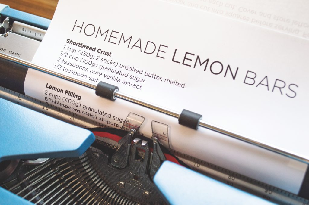 Lemon bars recipe on typewriter.