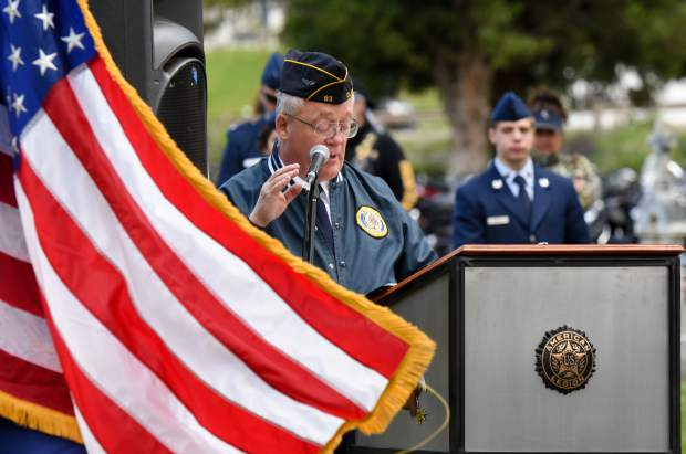 American Legion member Dan LeVan gives the Memorial Day address during the 2019 Memorial Day Ceremony held at Rosebud Cemetery in Glenwood Springs on Monday.