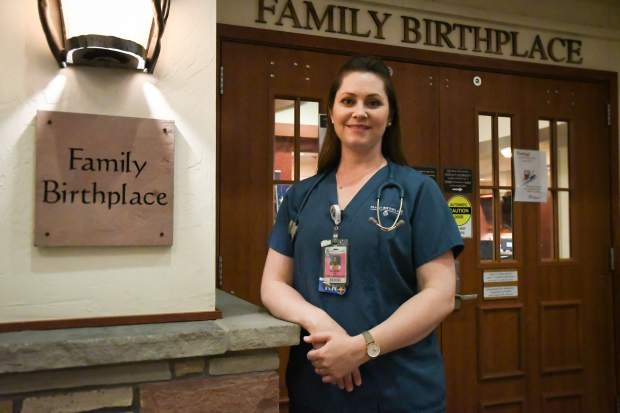 Valley View Hospital Family Birthplace nurse Courtney Pollard.