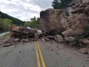 Rocks down on Highway 133 south of Carbondale, expect delays