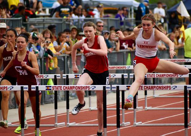 Glenwood Springs senior Sequoia Kellogg flies over the hurdle during the 100m hurdles at JeffCo Stadium in Lakewood. Kellogg finished in 15.75 seconds, securing a spot in the finals.