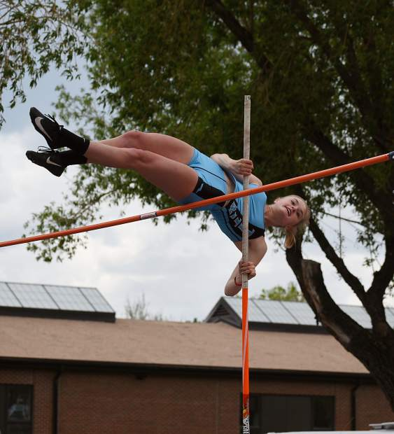 Coal Ridge sophomore Phoebe Young clears the bar on her way to a second-place state finish in the 3A pole vault Friday.