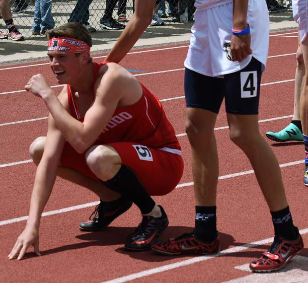 Glenwood Springs senior Wyatt Ewer takes a second to control his emotions after winning the 4A 300m hurdles state championship Saturday at JeffCo Stadium in Lakewood.