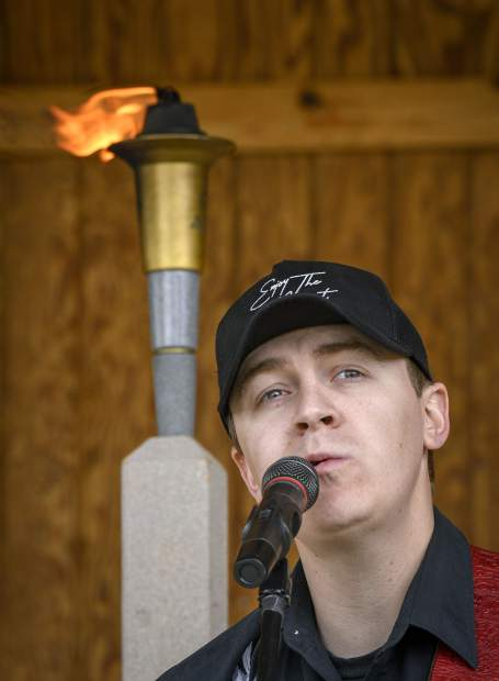 Country musician Tyler Barham, an and up-and -coming Nashville recording artist and singer-songwriter, sings during Saturday's First Responders Day event in Silt.