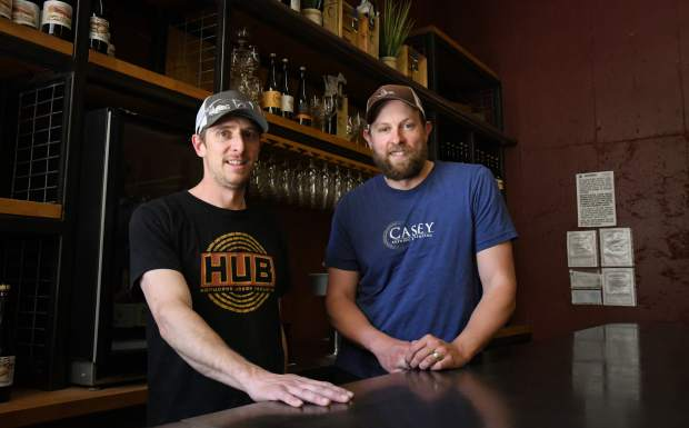 Brewer Eric Metzger and Troy Casey inside the current bar and brewing facility located in South Glenwood. Casey Brewing is set to open a new tasting room in the old Lost Cajun space in downtown Glenwood in the coming months.