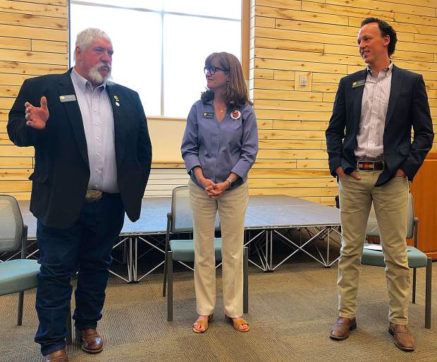 State representatives Perry Will, left, Julie McCluskie and Dylan Roberts held a town hall meeting in Basalt last week.