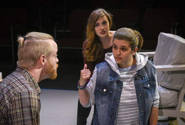 Dana Gaubatz, Michelle Mary Schaefer, and Brittany Dye prepare for the opening of TRTC's production of 'Tribes,' which opensFriday June 14 in Carbondale.