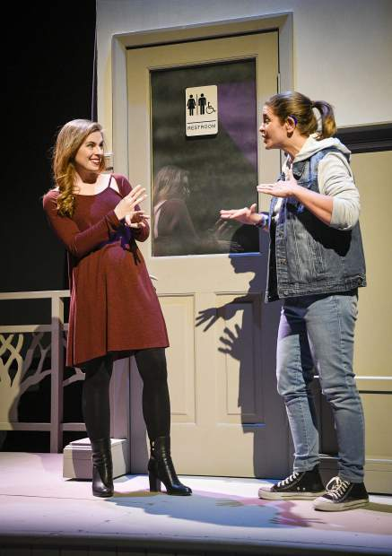 Using sign language actors, TRTC guest actors Brittany Dye of New York City and Michelle Mary Schaefer of Austin, Texas, walk through a scence of
