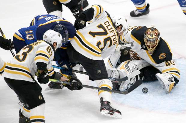 Boston Bruins goaltender Tuukka Rask (40), of Finland, gloves the puck during the third period of Game 4 of the NHL hockey Stanley Cup Final against the St. Louis Blues Monday, June 3, 2019, in St. Louis. (AP Photo/Scott Kane)