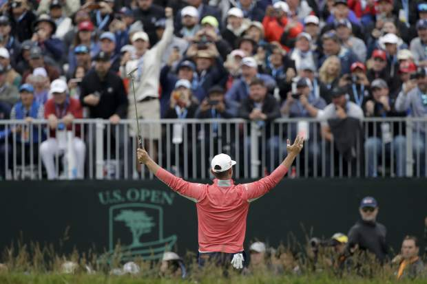 Gary Woodland celebrates after winning the U.S. Open Championship golf tournament Sunday, June 16, 2019, in Pebble Beach, Calif. (AP Photo/Marcio Jose Sanchez)