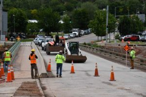Night closures for pedestrian bridge water line work