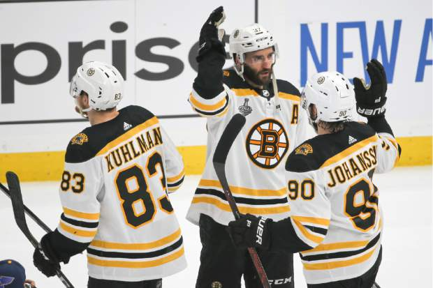 b6510604c Boston Bruins center Patrice Bergeron (37) celebrates with Marcus Johansson  (90),