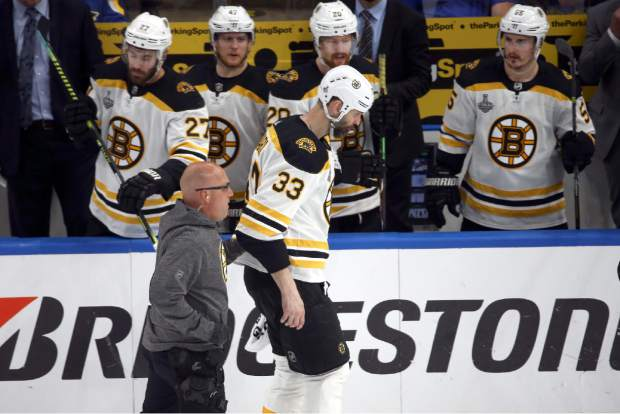 Boston Bruins defenseman Zdeno Chara (33), of Slovakia, leaves the ice after being hit in the face by the puck during the second period of Game 4 of the NHL hockey Stanley Cup Final against the St. Louis Blues Monday, June 3, 2019, in St. Louis. (AP Photo/Scott Kane)