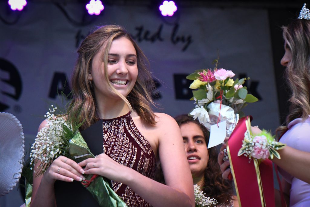 Miss Strawberry Days contestant Jolie DeRosa reacts to winning the second running up during the 2019 crowning of Miss Strawberry Days on Friday evening.