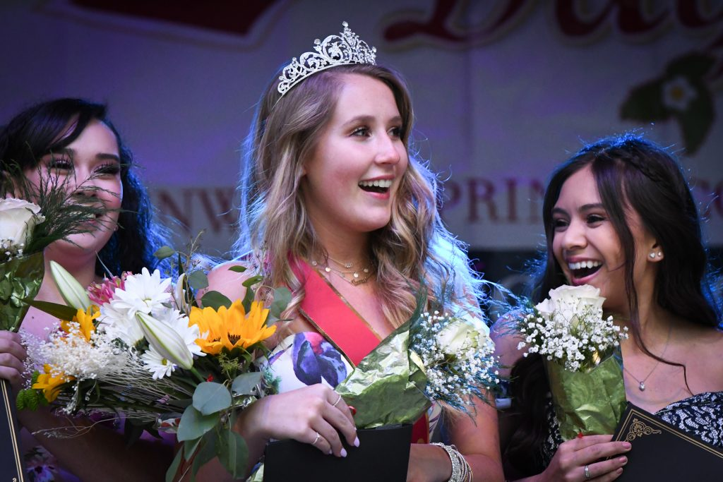 MIss Strawberry Days contestant Logan Nieslanik reacts to being crowned the 2019 Miss Strawberry Days at the crowning ceremony held at Sayre Park on Friday evening. The first runner up award went to Levyn Thomas, second runner up went to Jolie DeRosa and the MIss Congeniality was awarded to Danny Starbuck. All contestants were given ATHENA Leadership volunteer certificates.