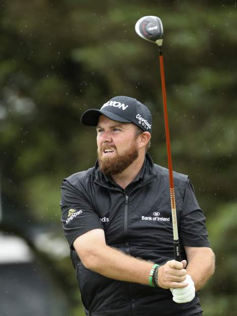 Ireland's Shane Lowry plays his tee shot at the 5th hole during the final round of the British Open Golf Championships at Royal Portrush in Northern Ireland, Sunday, July 21, 2019.(AP Photo/Peter Morrison)