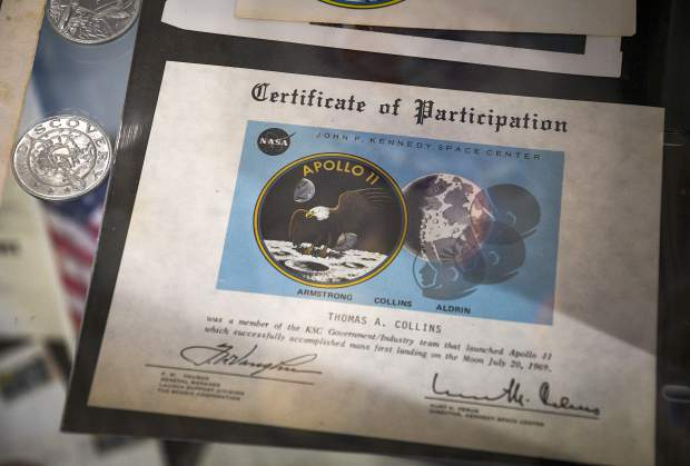 Tom Collins included the certificates and awards he received for his participation in each launch, including Apollo 11 on July, 16, 1969.