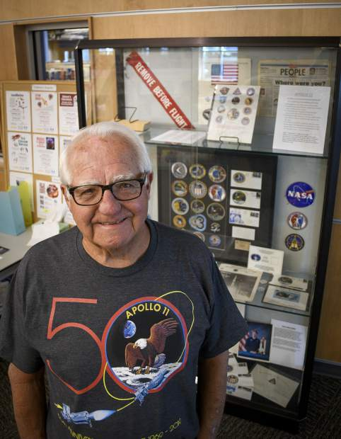 Former Kennedy Space Center engineer Tom Collins of Rifle commemorates his space program career on the 50th anniversary of Apollo 11