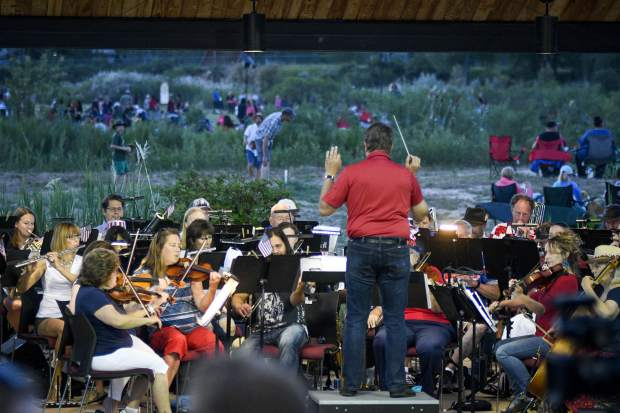 Symphony in the Valley performs for the crowd during the annual Independence Day celebration Wednesday in Rifle.