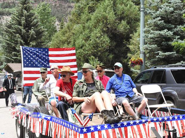 Area military veterans ride in the Redstone 4th of July Parade on Thursday.