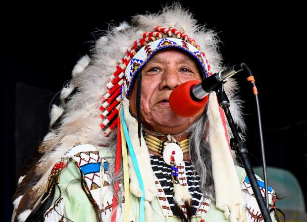 Ute elder Roland McCook gives the opening speech at the 48th annual Carbondale Mountain Fair on Friday evening.