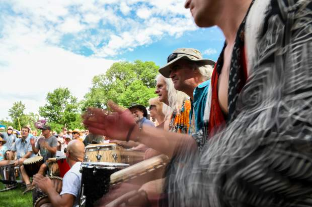 Scenes from the 48th annual Carbondale Mountain Fair Rhythm of the Heart Community Drum Circle.