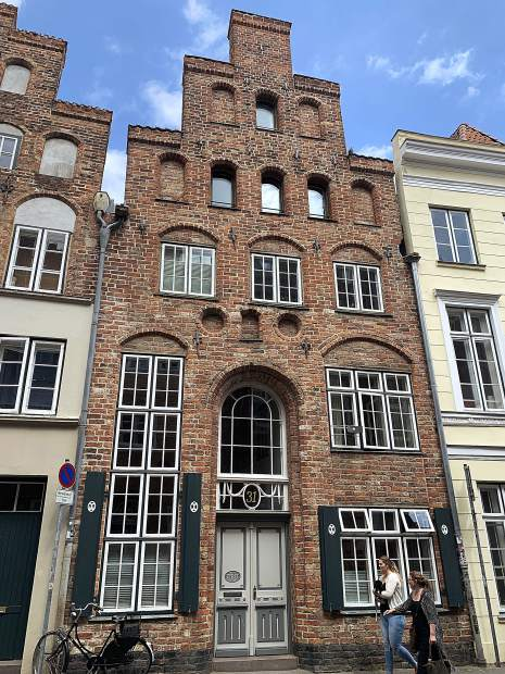 A typical brick residential building in the historic river port city of Lubeck, Germany, located about 90 minutes northeast of Hamburg.