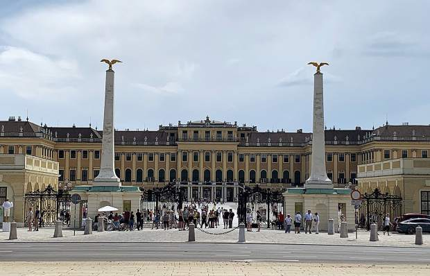 A view from across the street on the north side of Schoenbrunn Palace in Vienna, Austria.