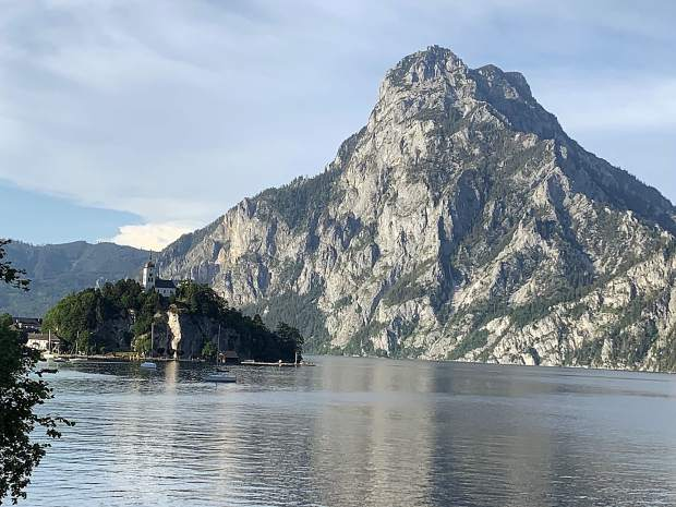 A small church tops this little island in the lake at Traunkirchen, in the Austrian Alps.