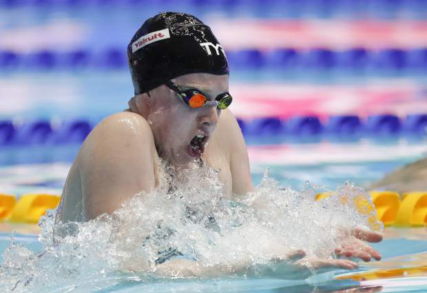 United States' Lilly King swims in the women's 50m breaststroke finalat the World Swimming Championships in Gwangju, South Korea, Sunday, July 28, 2019. (AP Photo/Lee Jin-man)