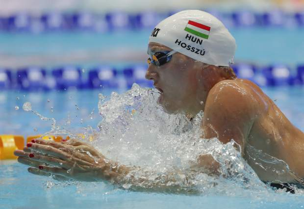 Hungary's Katinka Hosszu swims in the women's 200m individual medley final at the World Swimming Championships in Gwangju, South Korea, Monday, July 22, 2019. (AP Photo/Lee Jin-man)