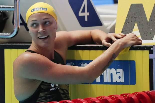 Sweden's Sarah Sjostrom reacts after her second place finish in the women's 100m butterfly final at the World Swimming Championships in Gwangju, South Korea, Monday, July 22, 2019. (AP Photo/Lee Jin-man)