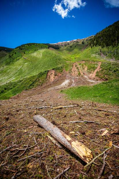 Avalanche debris litters the Conundrum Creek trail.