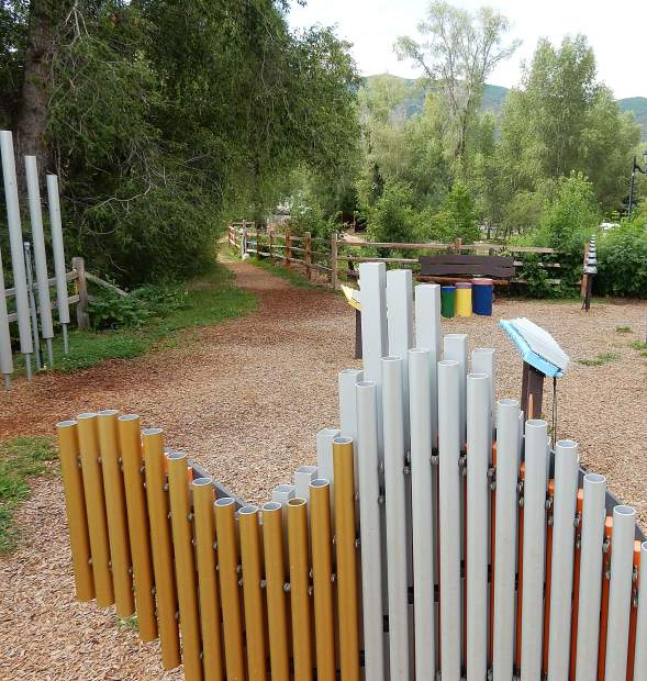 The music park, where oversized instruments are available to play, and adjacent edible park create an interesting place to visit alongside the Roaring Fork River in Basalt.