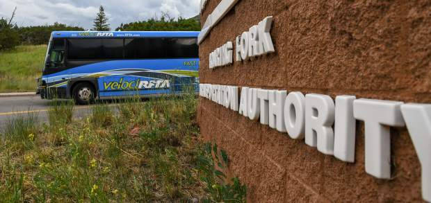 A RFTA bus leaves the holding station at the Roaring Fork Transportation Authority lot near the Glenwood Springs Municipal Operations Center in West Glenwood.