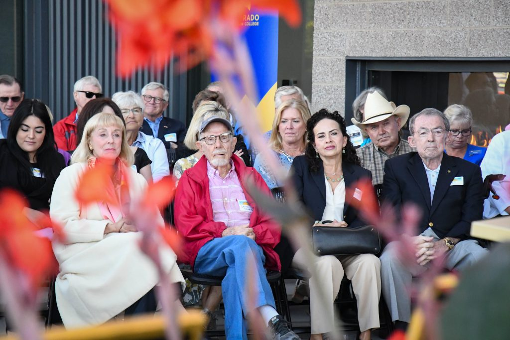 Connie Calaway, David Delaplane, and far right Bob Young attend the ribbon cutting and official building dedication ceremony for the new J. Robert Young Alpine Ascent Center at the CMC Spring Valley Campus.