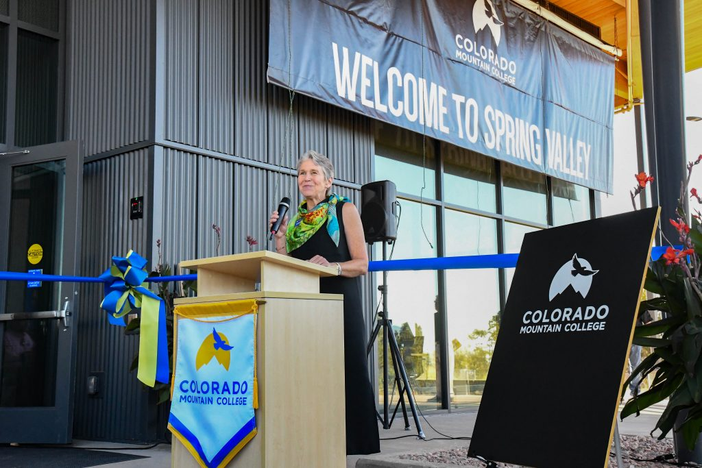 Heather Exby gives the opening comments at the  ribbon cutting and official building dedication ceremony for the new J. Robert Young Alpine Ascent Center at the CMC Spring Valley Campus.