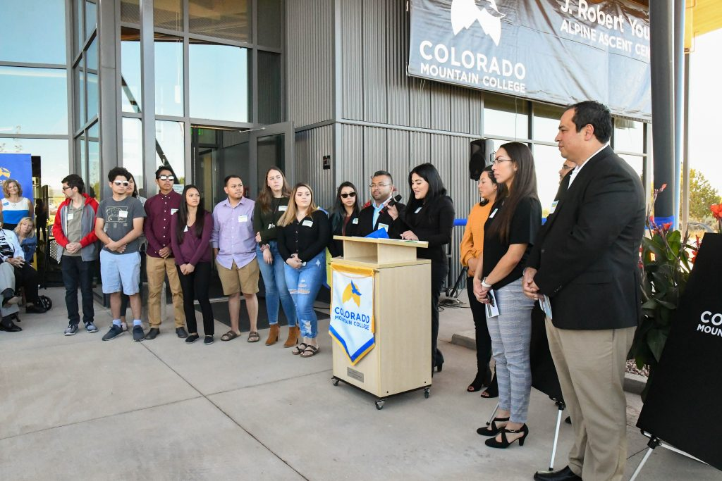 Alpine Bank Latino/Hispanic Scholars take a moment to thank Bon Young for his contributions and the oppurtunity to further the education by awarding scholarships at the  ribbon cutting and official building dedication ceremony for the new J. Robert Young Alpine Ascent Center at the CMC Spring Valley Campus.