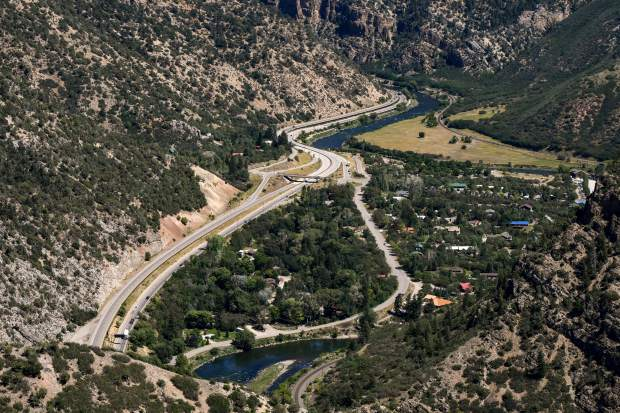 Interstate 70 in Glenwood Canyon at No Name, just east of Glewood Springs.