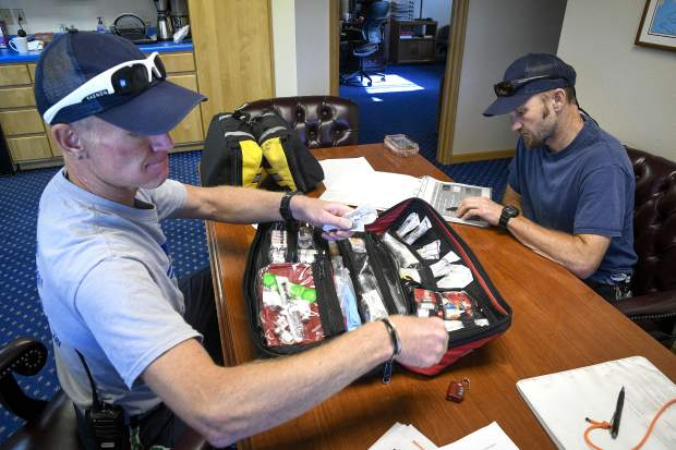 Flight Medic Robbie Klimek and Flight Nurse Nate Wilson go through their morning routine, checking inventory in the flight bag.