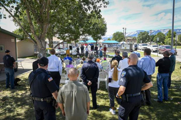 Rifle residents, public officals and contractors find a little shade during last Friday's groundbreaking ceremonies at Art Dague Pool and Water Slide. The city offically closed the 50-year-old facilty to make way for the renovation and expansion of the aquatic facility.