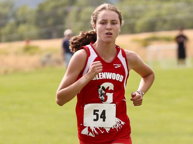 Glenwood Springs High School freshman Sophia Connerton-Nevin competes in the Longhorn Invitational on Saturday, Aug. 24, 2019, at Crown Mountain Park. She finshed second in 19:38.6. (Photo by Austin Colbert/The Aspen Times)