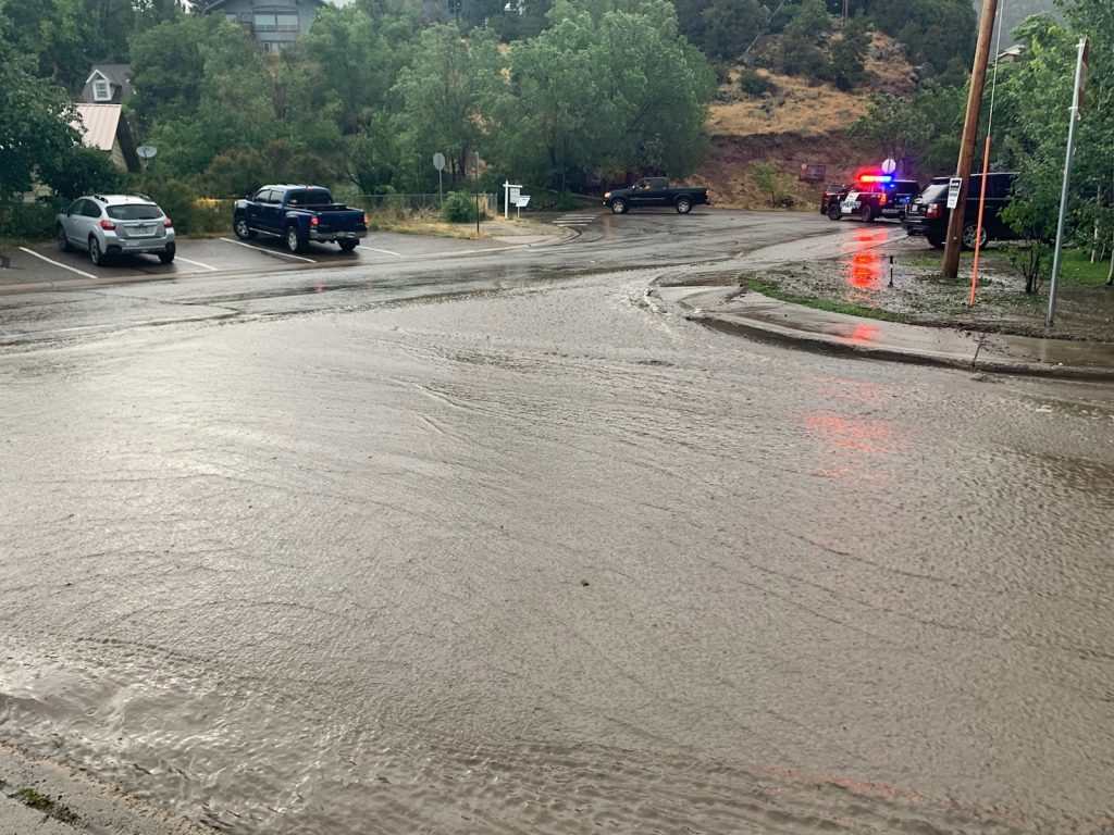 Flash flooding in the Lake Christine Fire burn scar has caused road closures and evacuations on Sunday evening after storms rolled through the area. The Fryingpan Road is closed just outside of Basalt and water is also rushing down the road.