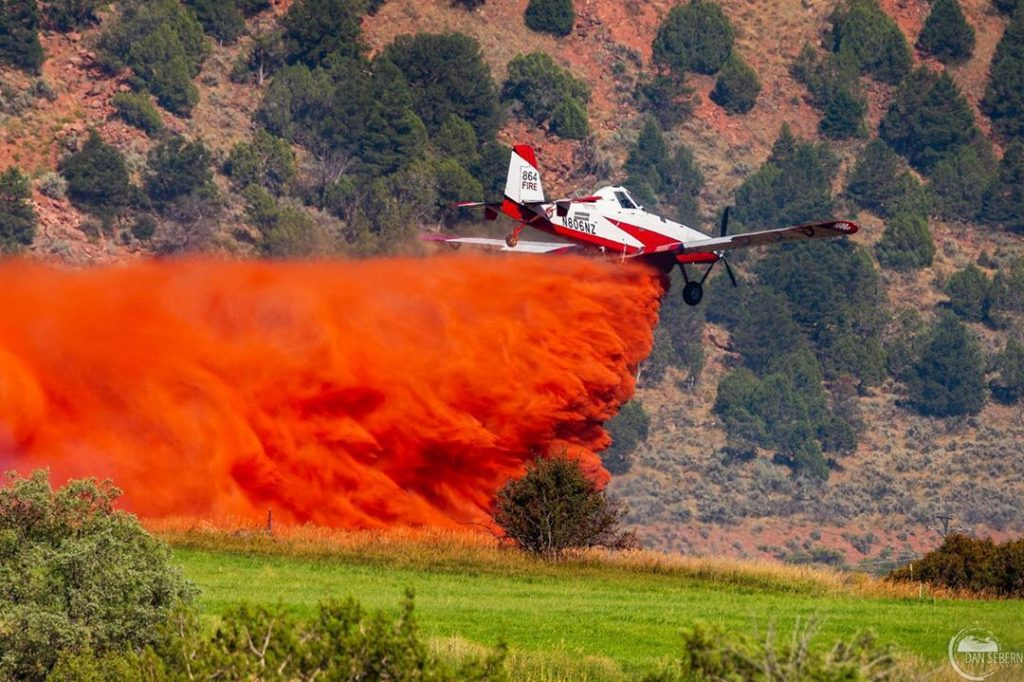 Single engine air tanker T-864 dropping on the Sunrise Court Fire in Glenwood Springs.