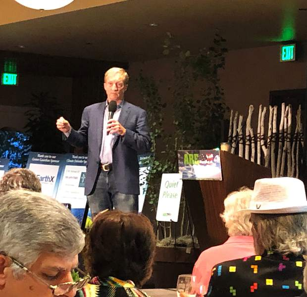 Democratic presidential candidate Tomo Steyer addresses the audience Friday night at the AREDAY Summit in Snowmass Village. Climate is the key issue in the election, he said.