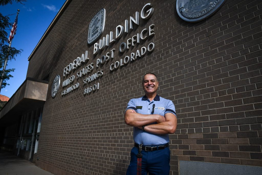 Tim Romero Jr. outside the Glenwood Springs Post Office where he has been employed since 1998.